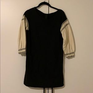 Black Mini Dress with POCKETS and Peasant Sleeves